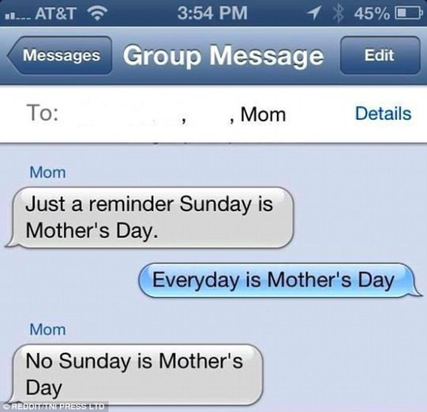 Missed the joke: This child's attempt to make his mother feel good went unnoticed