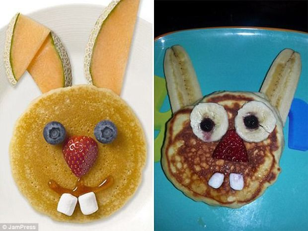 One parent wanted to make an adorable rabbit out of pancakes and fruit for their child but theirs ended up looking much more demonic than the recipe they were trying to copy