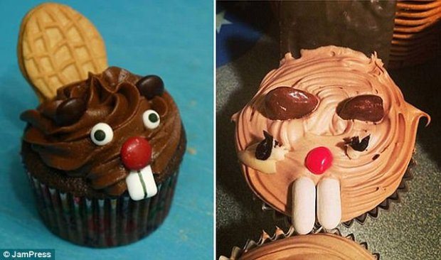 The cake on the left may look simple to reproduce but this cooks' effort on the right shows how easy it is to make a cute animal face look deranged