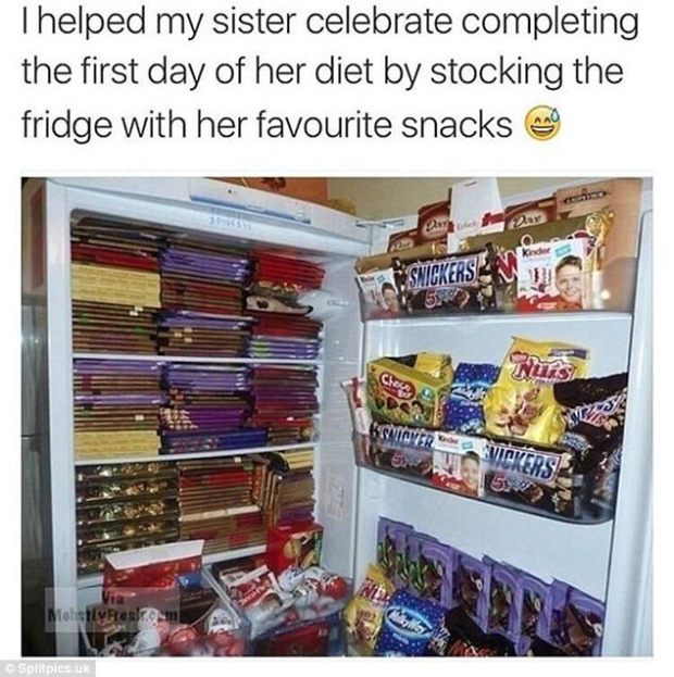 Comedic? Or just cruel? A dieter returns to find her fridge stuffed with sugary stuff