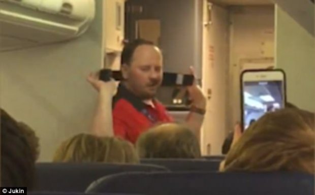 Gone viral: Nicholas Demore was cabin crew on Southwest Airlines flight 1597 from Dallas to Las Vegas when he performed the hilarious routine