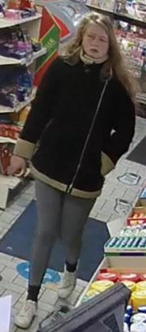 Dorset Police have released new CCTV of missing 19-year-old Gaia Pope (pictured) before she disappeared in Swanage on November 7. She is captured buying an ice cream at a petrol station in Valley Road between Langton Matravers and Swanage at around 2.55pm. She had been driven there by a member of her family before she was caught on camera again sprinting down Morrison Road in Swanage and banging on a door in Manor Gardens at 3.40pm - the last time she was seen alive