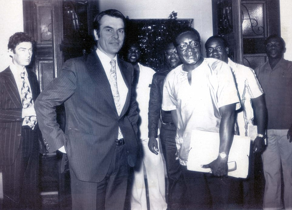 He headed to Ghana to teach in 1958, where he was influenced by president Kwame Nkrumah. Mugabe said he went to the country as an 'adventurist' because he wanted to see what an independent African state looked like (Ghana was the first nation in the continent to win freedom from a European power). Pictured: Mugabe with British Foreign Secretary David Owen