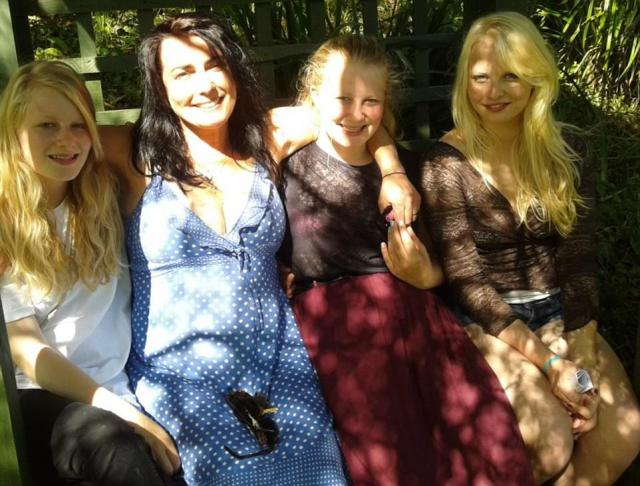 Family distraught: Gaia's loved ones say their world has been turned upside down following her disappearance. Pictured, Gaia (left) with her mother Natasha (centre left), sister Clare (centre right) and her twin sister Maya (right)