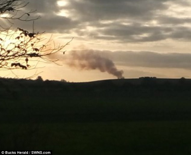 A plume of smoke was seen over the woodland shortly after the two aircraft came down