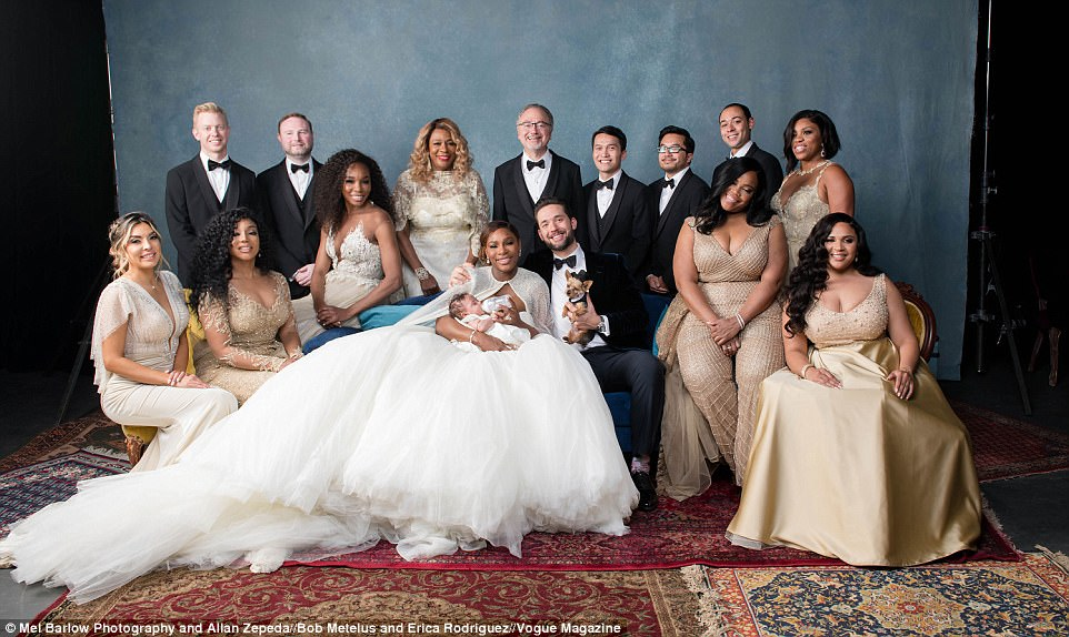 Beautiful: Serena Williams looks gorgeous these photos from Vogue. Here she's showing off her Alexander McQueen princess gown, along with new husband Alexis Ohanian, their daughter, family - and top-hat-wearing dog
