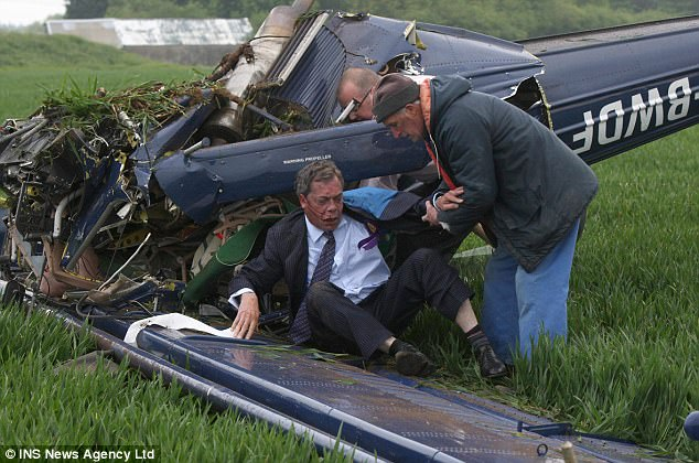 Nigel Farage emerges from the tangled wreckage of a plane crash in a remote Northamptonshire field, his face swollen and bloody, his spine chipped and ribs broken