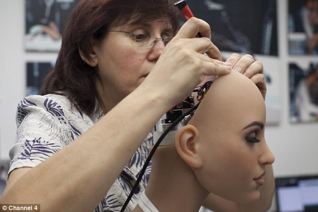 The Real Doll Company in California have been developing a doll that will be fully functioning - it will look, move and talk like a real human. Pictured, Susan the only female on the team