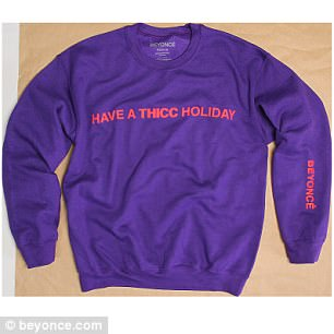 Promotional post: The sweater she wore is one of the clothing items available to buy on her website Beyonce.com