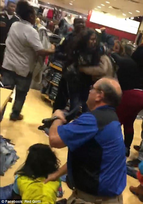 One person was shot outside a Missouri mall as hoards of shoppers fought each other for Black Friday deals.The Black Friday mayhem began at 5pm on Thanksgiving Day.While a brawl erupted in Birmingham, Alabama which shut down a late-night shopping session and closed parts of the mall