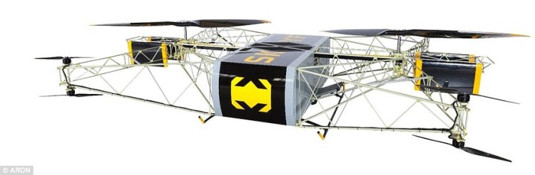 The drone uses its gasoline-powered engines for its two primary lift props, and uses all four sets of twin props with electric motors to help stabilize and steer it