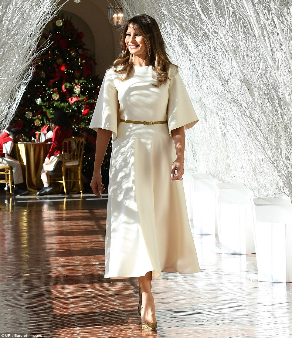Feeling festive! The mother-of-one was beaming with joy as she made her way through the decor-filled White House