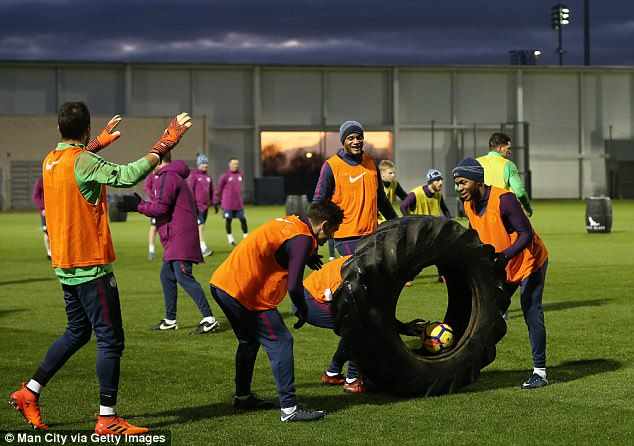 The training session incorporated a giant tractor tyre which the players clearly enjoyed