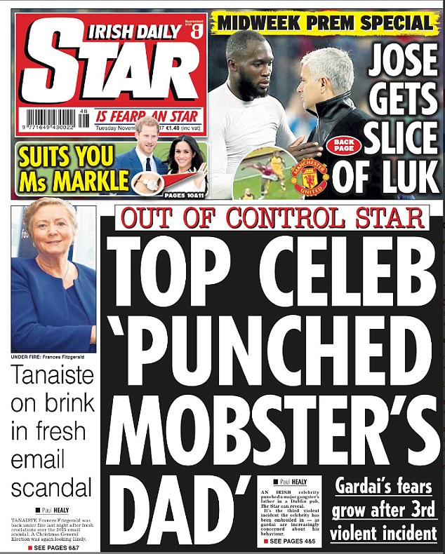 The Irish Daily Star initially reported a 'top celebrity punched a mobster's dad'