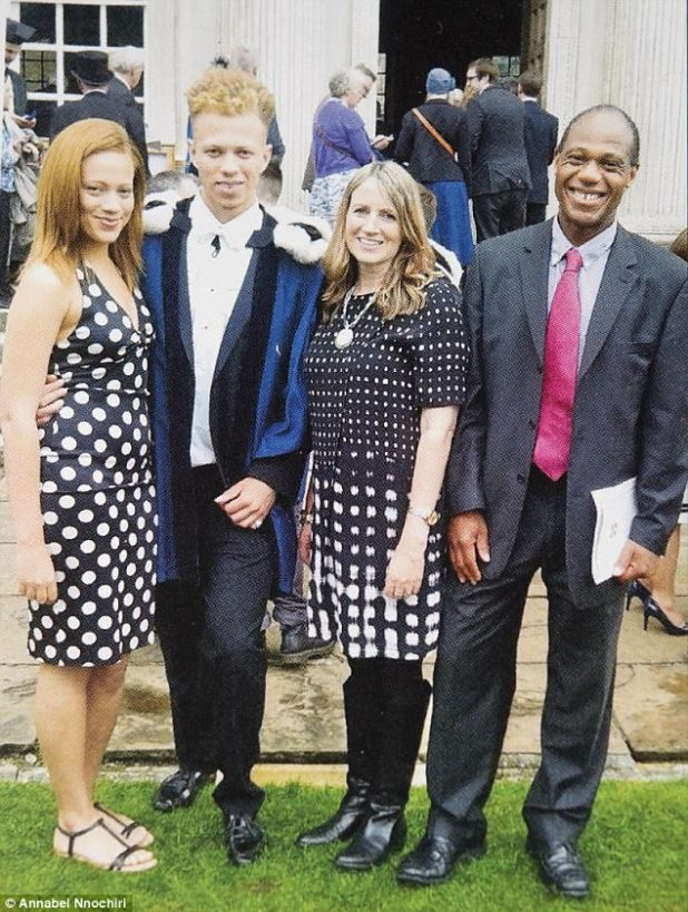 The family she left behind: Annabel with children Stella and Christian and her ex-husband at Christian's graduation ceremony