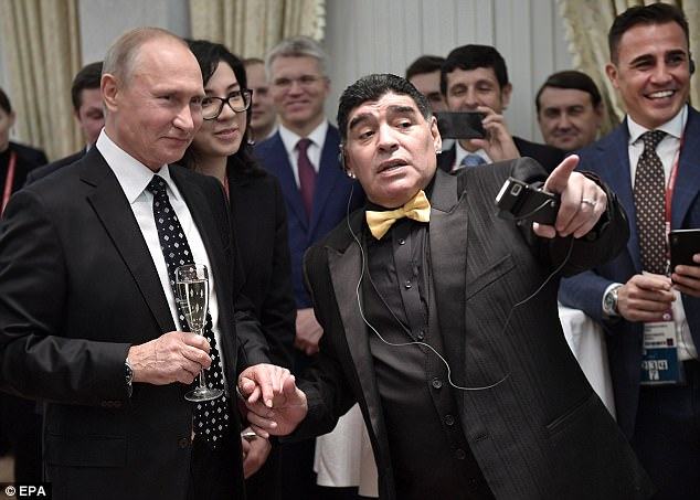 Maradona spoke with Putin before assuming his position centre stage for the group draw