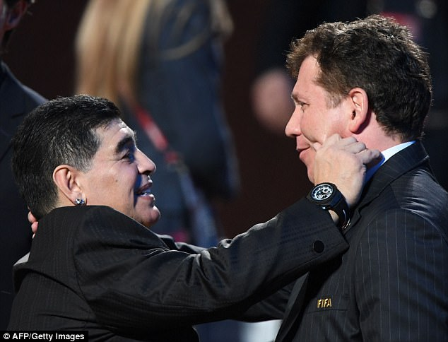 The Argentina legend shared a joke with FIFA councilmember Alejandro Dominguez