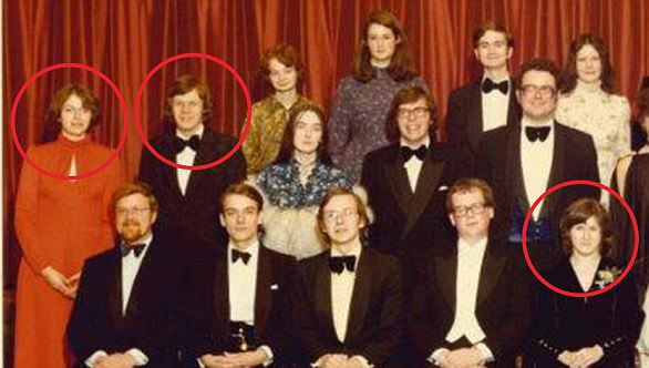 Friends: Theresa Brasier, as she was then known, circled with Damian Green. His future wife Alicia is in front row