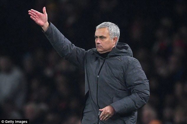 Jose Mourinho gestures during Manchester United's victory over Arsenal on Saturday