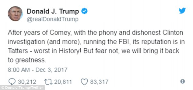 Image result for image of trump's criticism of FBI