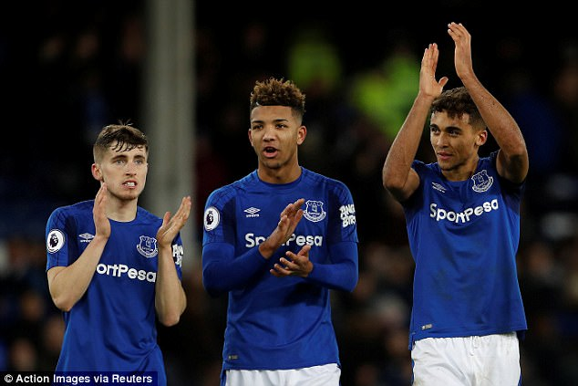 Left to right: Jonjoe Kenny, Mason Holgate and Dominic Calvert-Lewin after the final whistle