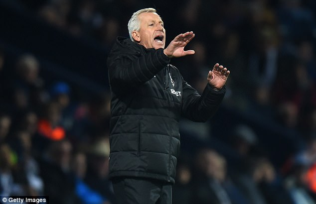 West Brom boss Alan Pardew issues instructions during his team's draw with Crystal Palace