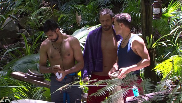 Harsh: Dennis told pals Amir and Jamie that it wasn't as bad as Iain had made it out to be. He said:'They gave me 10 minutes and I did it in five... there's no way it was 3 metres deep, it was 1.5'
