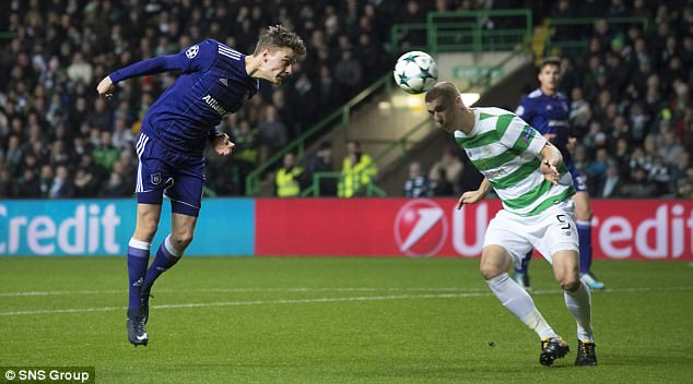 Celtic lost to Anderlecht in the Champions league courtesy of Jozo Simunovic's own goal