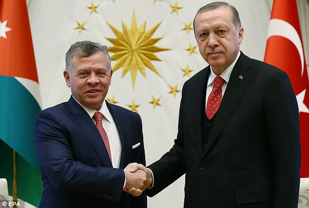 More opprobrium: Turkey's president Recey Tayyip Erdogan, who met King Abdullah of Jordan on Tuesday, had called the move on Jerusalem a 'red line'. His spokesman on Wednesday said it was a 'grave mistake that will virtually eliminate the fragile Middle East peace process'.