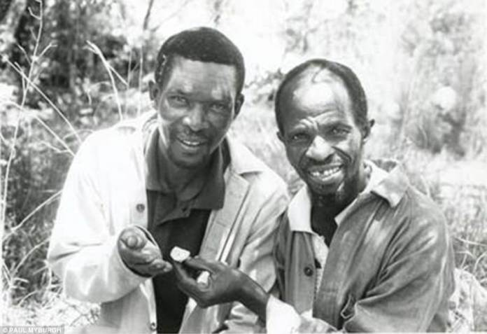 In July 1997, Dr Clarke and Stephen Motsumi and Nkwane Molefe (pictured), located the position of the end of the skeleton's shin bone in the Sterkfontein caves