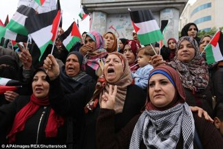 Palestinian women in Gaza, City protest against the US plan to move its embassy to Jerusalem,