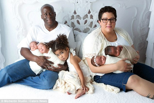 Family: Parents Virginia and Victor Johnson with three-year-old daughter Zoey and quadruplets,Ava, Madelyn, Olivia and Victor, who were all born through IVF