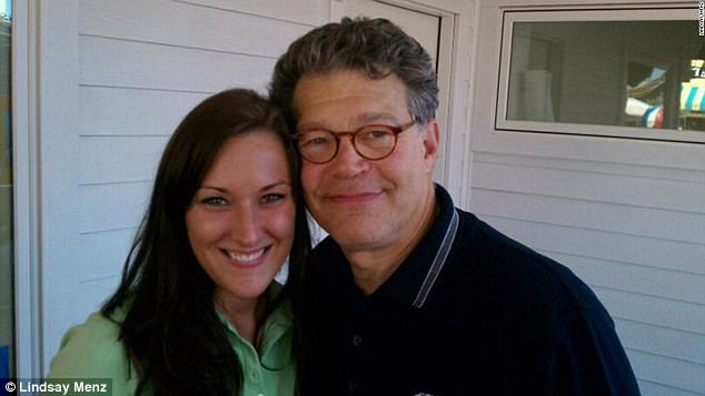 Lindsay Menz (left) claims Franken grabbed her rear end while they posed for this photograph