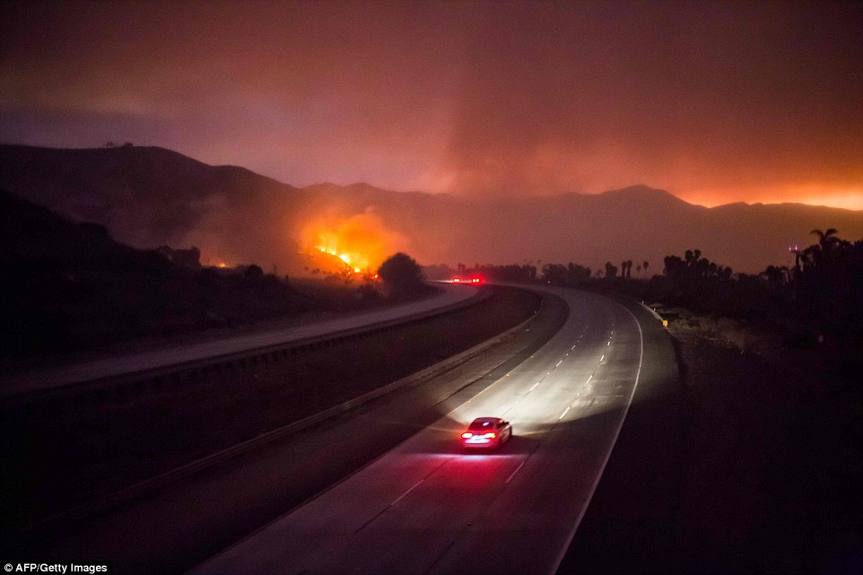 The 101 Highway (pictured) was closed after the Thomas Fire jumped the road towards the Pacific Coast Highway in Ventura. Thursday will be a dicey day for firestorm watchers