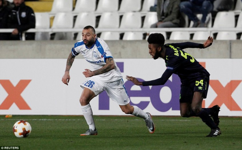 Beni Baningime (right) was another of the clubs youngsters to be entrusted with a start in the Europa League clash