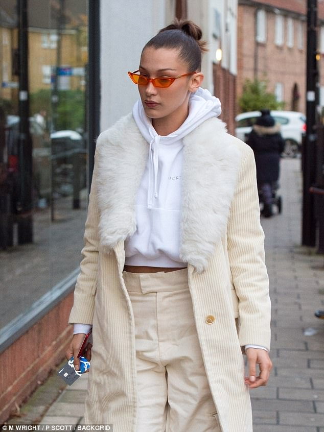 Model behaviour: Bella Hadid ensured all eyes were on her as she showcased her sartorial excellence while heading out in London on Thursday