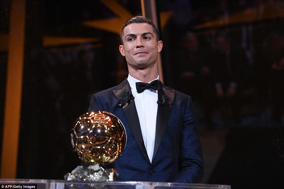 Cristiano Ronaldo has won the Ballon d'Or for a record-equalling fifth time in a glamorous ceremony in the French capital