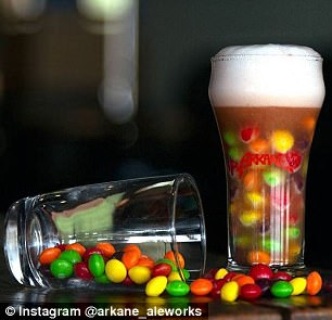 Just for show: The drinks were not actually served with candy stuffed in the glasses