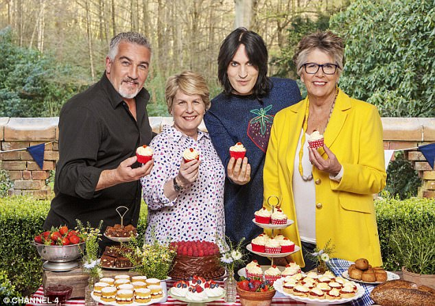 Despite the GBBO judges advice, eating turkey that's not thoroughly defrosted can be dangerous. Prue (far right) is pictured here with co-stars Paul Hollywood, Sandi Toksvig and Noel Fielding