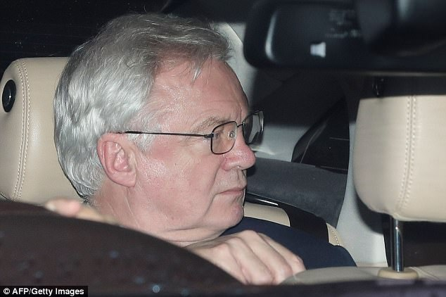 Brexit Secretary David Davis (pictured driving out of Parliament) sent a letter to MPs assuring them there will be a Commons vote on the terms of the divorce deal with the EU before it is implemented