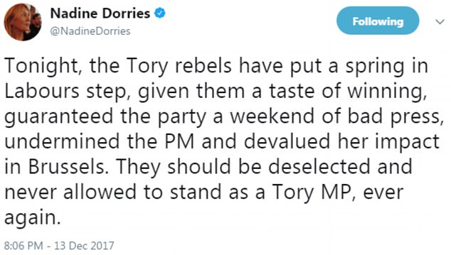 Brexiteer Nadine Dorries reacted furiously to the vote, demanding the rebels be 'deselected'
