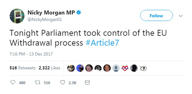 Former Education Secretary Nicky Morgan posted a message after the vote and said: 'Parliament took control of the EU Withdrawal process'