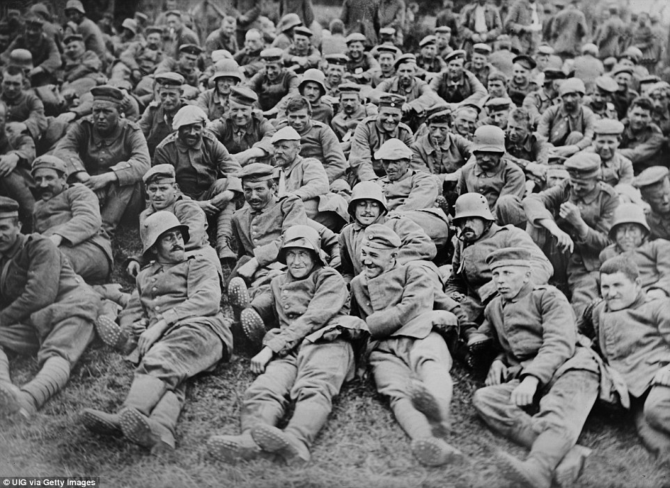 German Prisoners of war appear in good spirits after being captured by British Forces at Battle of Messines, West Flanders, Belgium, in June 1917