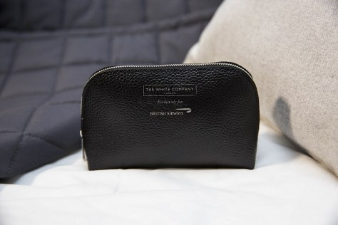 Looking good: To help combat the visible signs of jet-lag, The White Company also provides Club World amenity kits, which come in handsome leather bags and are packed with goodies from its Restore & Relax Spa Collection