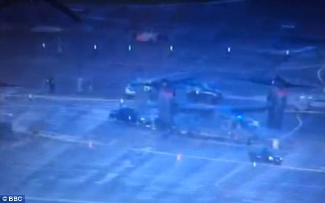 Aerial footage from the scene appeared to show flashing police car lights and a cordon around a Bell Boeing V-22 Osprey on a section of the base in Suffolk