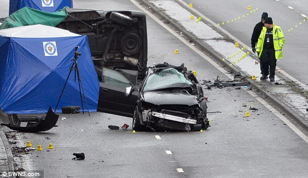 Three men died when an Audi mounted the central reservation of the dual carriageway