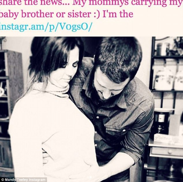 Flashback: Three days earlier, Mandy Teefey took to Instagram in memory of other daughter, Scarlett, who she lost in 2011 due to a miscarriage; Mandy pictured with husband Brian Teefey while pregnant with Scarlett
