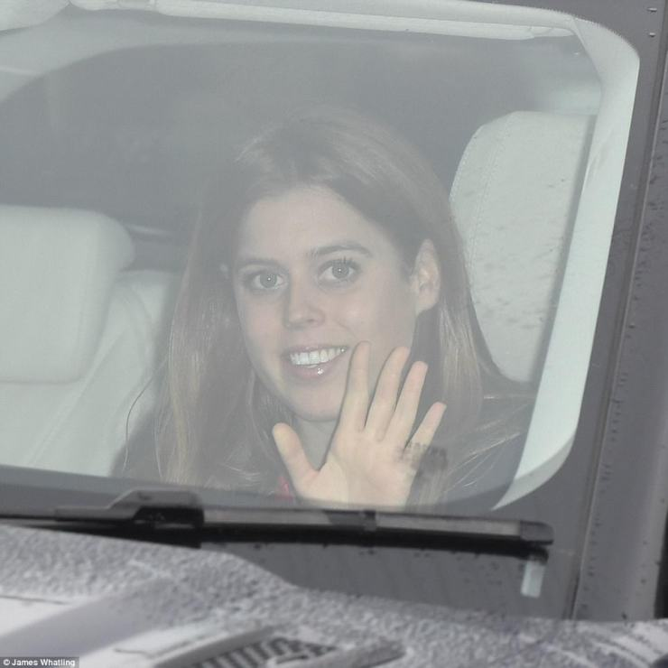Following behind was her elder sister Princess Beatrice who gave a wave to the cameras as she made her way through palace gates