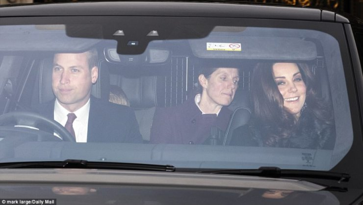 The Duke and Duchess of Cambridge's faithful nanny, Spanish-born Maria Borrallo, 46, was spotted next to Prince George in the rear of Prince William's royal car as they family arrived at Buckingham Palace this afternoon