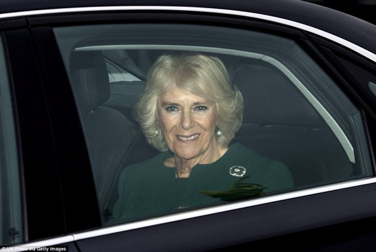 The Duchess of Cornwall was driven to Buckingham Palace for the traditional family lunch with her husband, Prince Charles